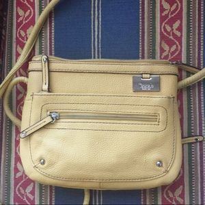 Leather cross body yellow bag